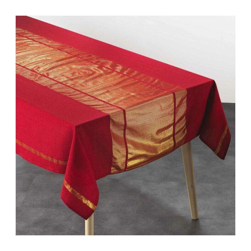 Nappe rectangle 140 x 240 cm coton uni+fils metallises elegancia Rouge/or