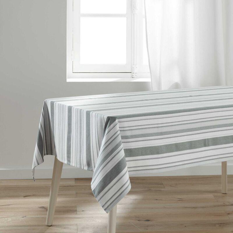 Douceur D'intérieur - Nappe rectangle 140 x 240 cm polycoton tisse santorin Gris/blanc