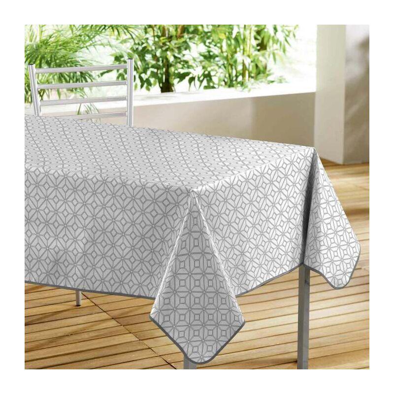 Douceur D'intérieur - Nappe rectangle 140 x 240 cm pvc imprime moderna Blanc
