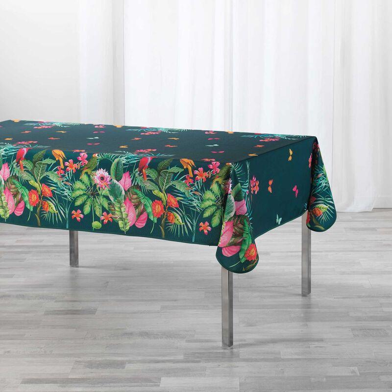 Nappe rectangle 150 x 200 cm polyester imprimé Tropical vintage Bleu