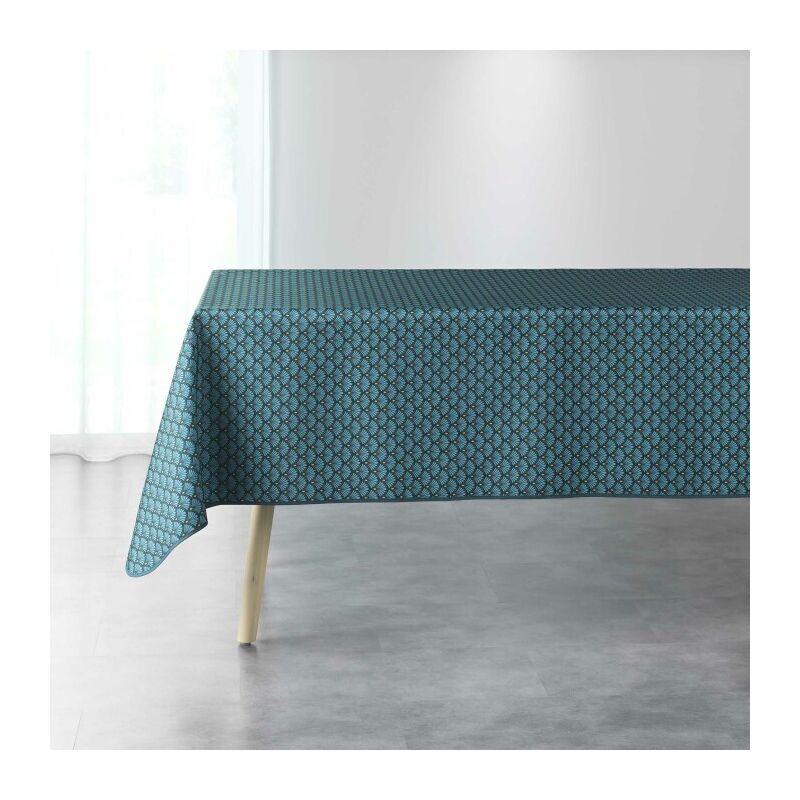 Nappe rectangle 150 x 240 cm polyester imprime artchic Bleu