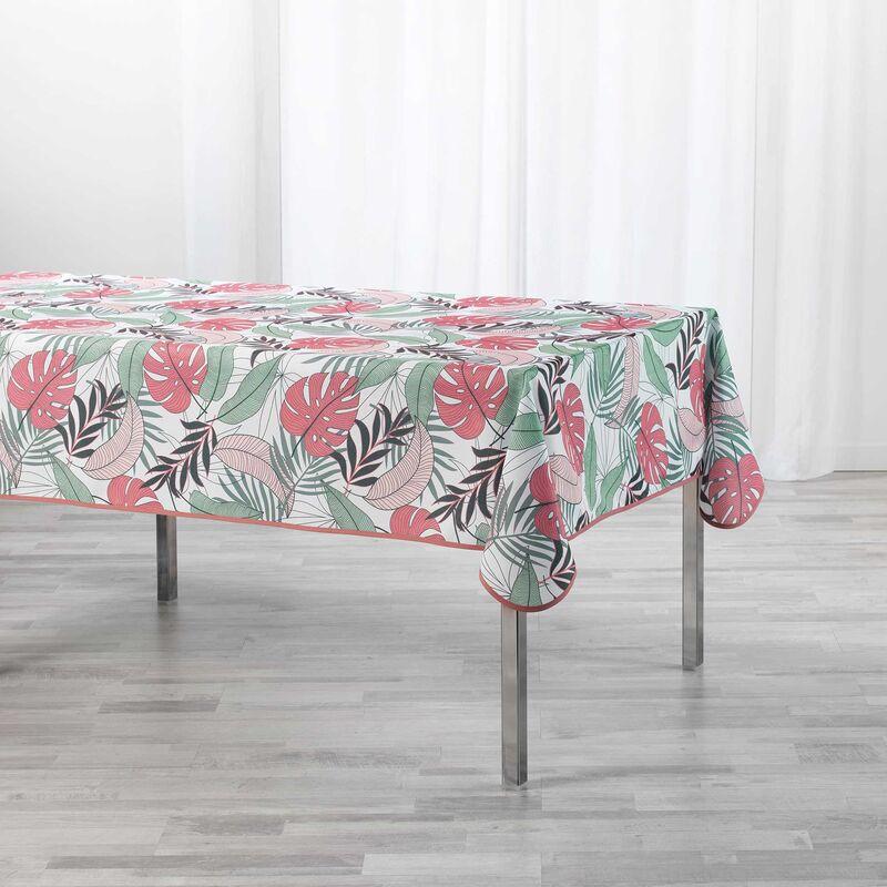 Douceur D'intérieur - Nappe rectangle 150 x 240 cm polyester imprimé Beauty jungle Blanc/rose