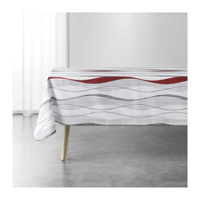 Nappe rectangle 150 x 240 cm polyester imprime ondulys Blanc/rouge