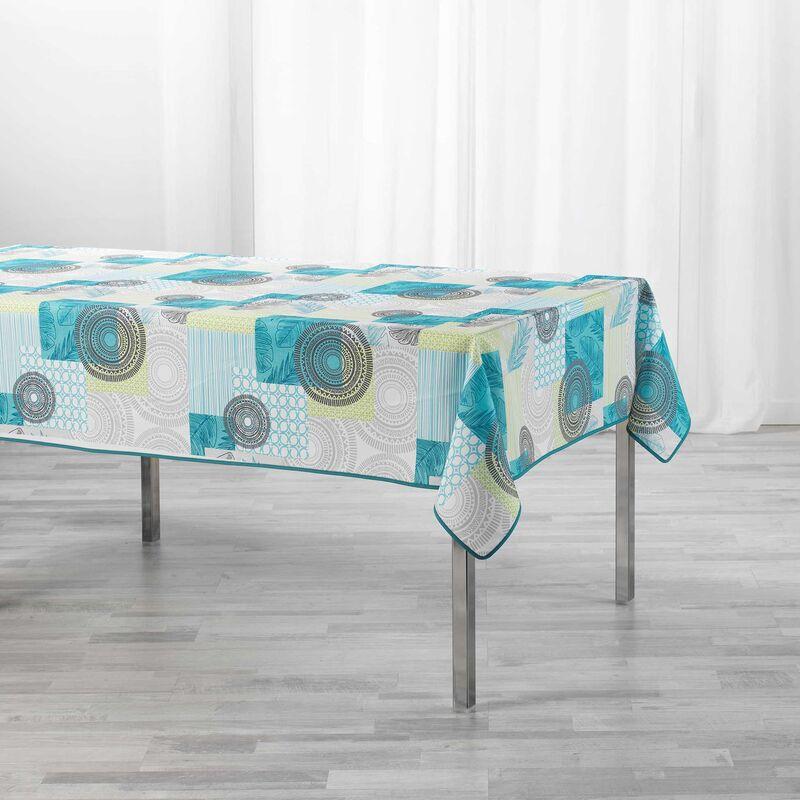 Nappe rectangle 150 x 240 cm polyester imprimé Peachy Bleu
