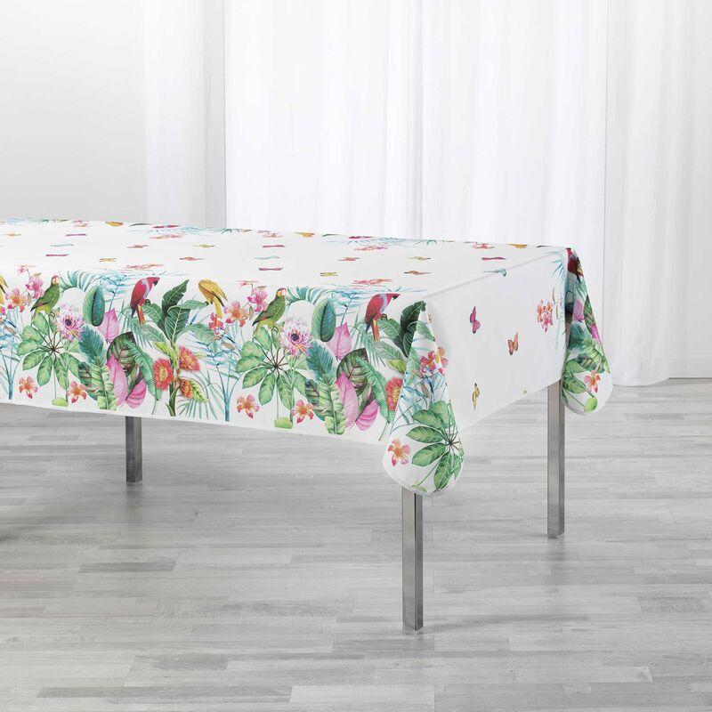 Douceur D'intérieur - Nappe rectangle 150 x 240 cm polyester imprimé Tropical vintage Naturel