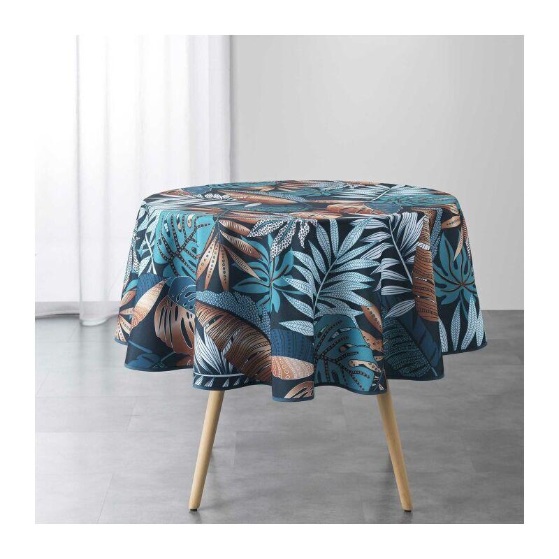 Nappe ronde (0) 180 cm polyester imprime alianor Bleu