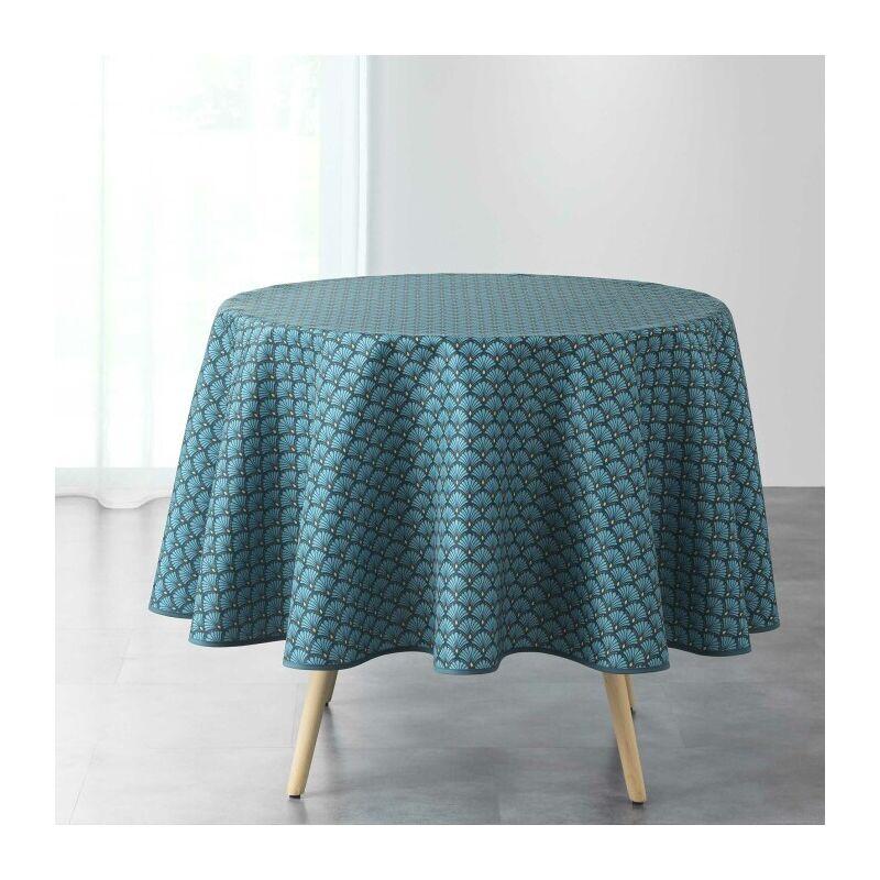 Nappe ronde (0) 180 cm polyester imprime artchic Bleu