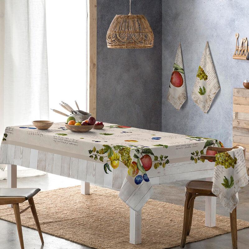 Nappe résine VINTAGE FRUITS beige/rouge 150x250 cm - beige/rouge