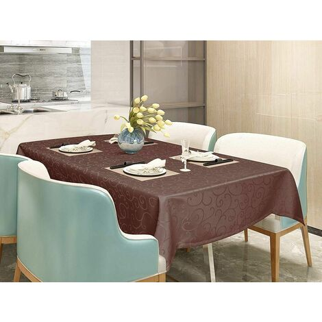 Nappe / table de poignets de couverture, ornements en finition brillante soie, 110x140 cm brun foncé