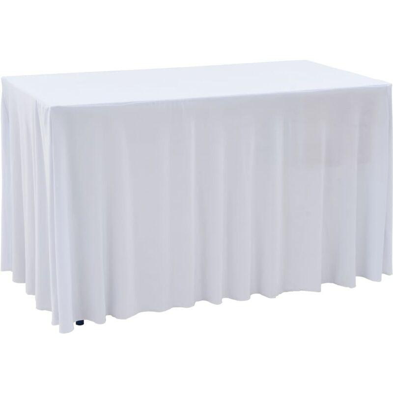 Nappes élastiques de table avec jupon 2 pcs 120x60,5x74cm Blanc