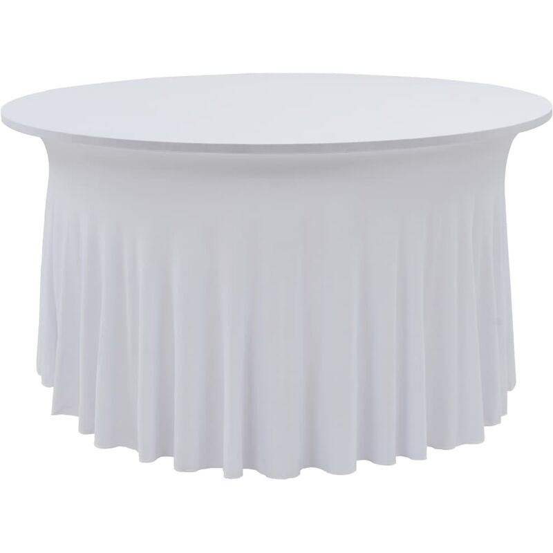 Nappes élastiques de table avec jupon 2 pcs 150x74 cm Blanc
