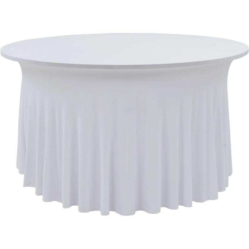 Nappes élastiques de table avec jupon 2 pcs 180x74 cm Blanc
