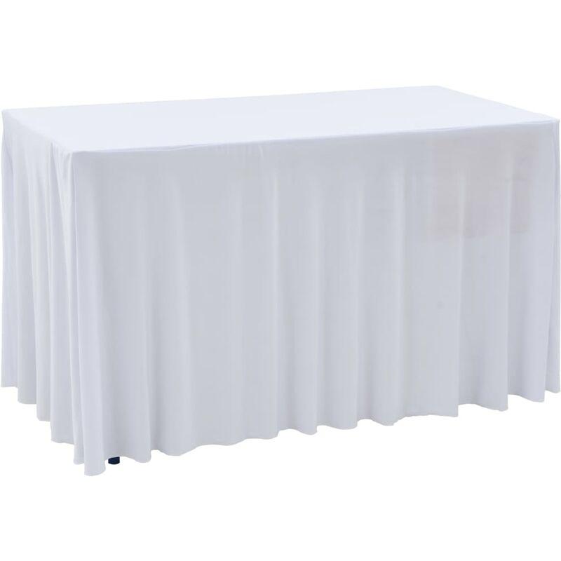 Nappes élastiques de table avec jupon 2 pcs 183x76x74cm Blanc