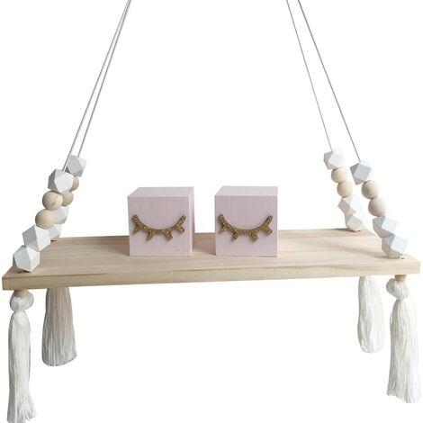 NaroFace Hanging Wall Shelf Wood Tassel Wall Panel Swing Holder Decor (White)