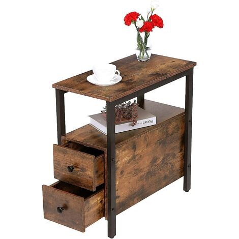 """main image of """"Narrow Side Table, Slim Bedside Table with 2 Drawers, Open Storage Shelf, Industrial Chair Side Lamp End Table for Small Space, Dark Wood Bedroom Furniture, Metal Frame, HOOBRO EBF54BZ01 - Rustic Brown"""""""