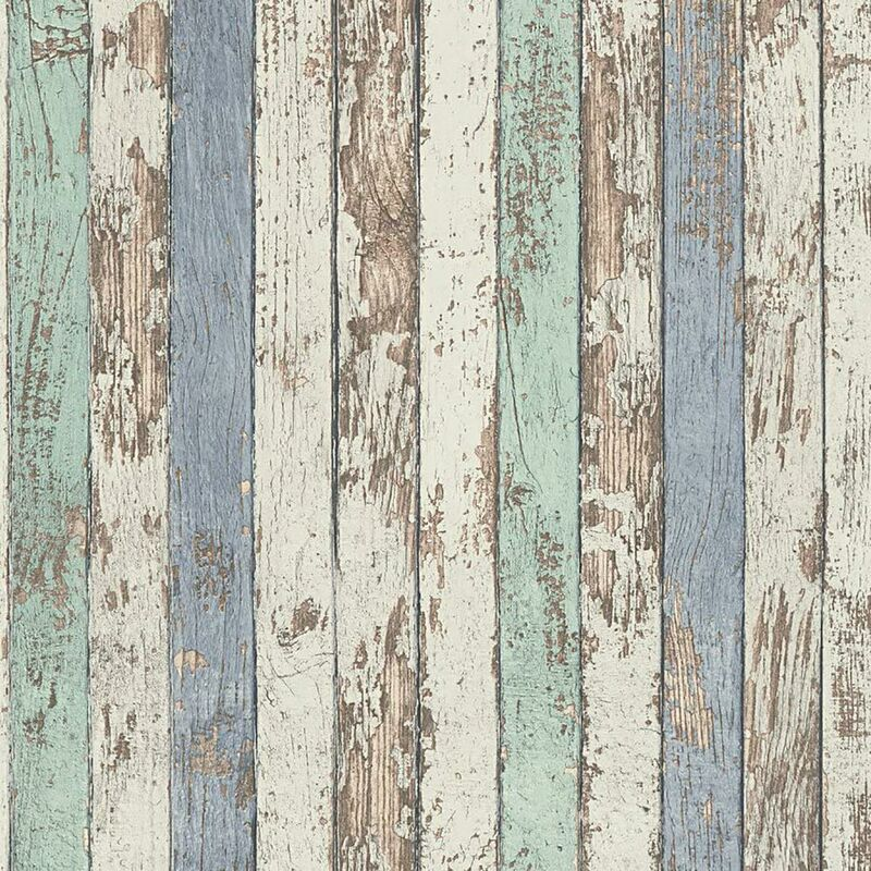 Image of Worn Wood Panel Effect Wallpaper White Blue Textured Vinyl - A.s Creation