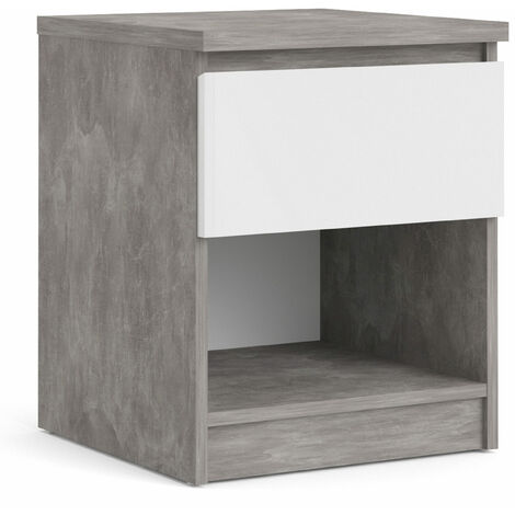 Nati Bedside - 1 Drawer 1 Shelf in Concrete and White High Gloss