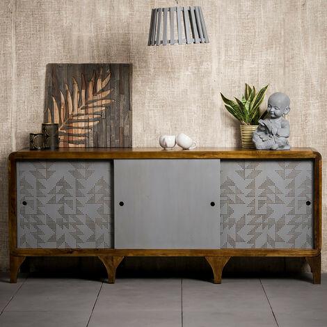 Native Home Aparador Salón, Cómoda Moderna con Puertas, Mueble Original, Madera de Mango, 75 x 177 x 45 cm, Gris-Marrón