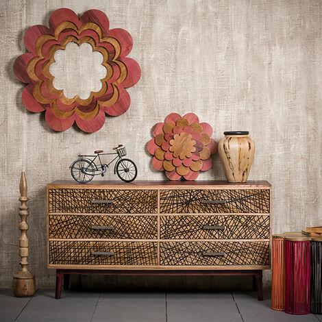 Native Home Aparador Salón con Cajones, Cómoda Moderna, Mueble Original, Madera Maciza, 78 x 147 x 48 cm, Marrón