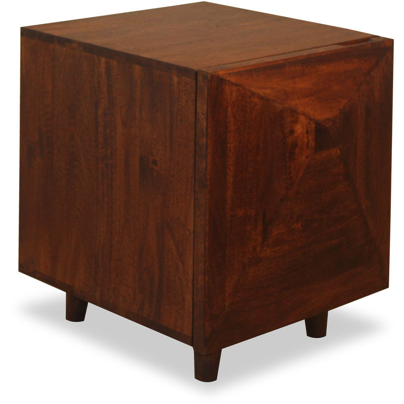 Nachtschrank Holz, mit Tür, massiv, natürliches Mangoholz, Nachttisch, HxBxT: 40 x 40 x 51 cm, dunkelbraun - Native Home