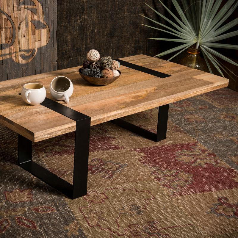 Native Home Table De Salon Bois Massif Rectangle Pieds Métal