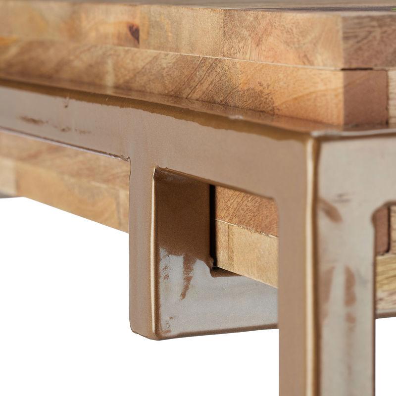 Tavolo In Legno Massello Quadrato.Native Home Tavolino Legno Massello Di Mango Metallo Quadrato
