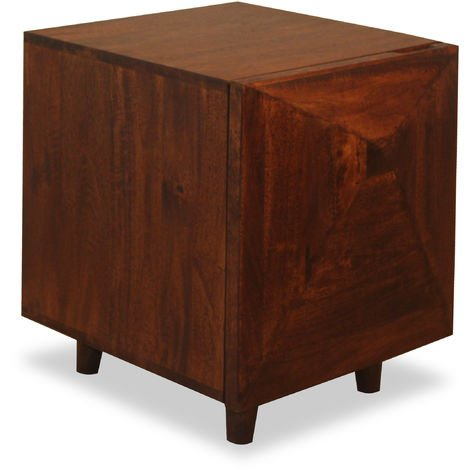 Native Home Wooden Nightstand with Door, Solid, Mango Wood, Patterned, Bedside Table, HxWxD: 40 x 40 x 51 cm, Dark Brown