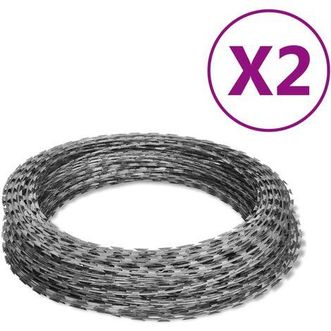 NATO Razor Wires Helical Wire Rolls 2 pcs Galvanized Steel 100 m