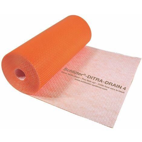 Natte de désolidarisation et de drainage en polyéthylène DITRA-DRAIN - Le rouleau de 25 M x 1 M