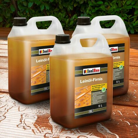 Natürliches LEINÖL- FIRNIS 15 L Holzöl Leinöl Firnis Harzfrei Holzschutz