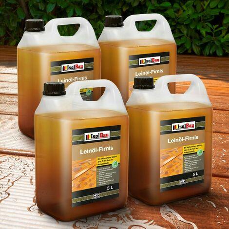 Natürliches LEINÖL- FIRNIS 20 L Holzöl Leinöl Firnis Harzfrei Holzschutz