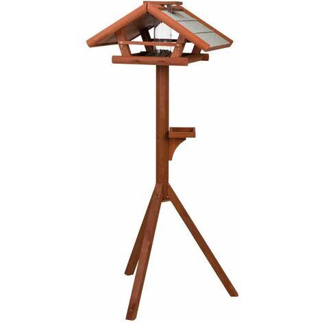 Natura mangeoire oiseaux avec pied & silo, en pin - 53 × 28 × 53 cm/1,40 M, brun