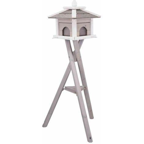 Natura mangeoire oiseaux silo, quadruple, en pin - 46 × 35 × 46 cm/1,35 M, gris/blanc