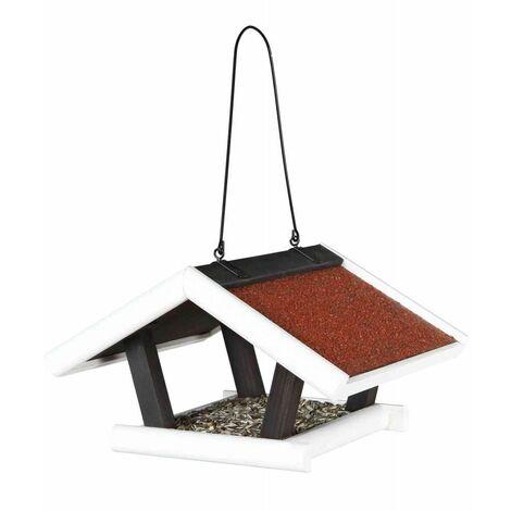 Natura mangeoire oiseaux suspendue, en pin - 30 × 18 × 28 cm, noir/blanc