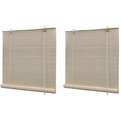Natural Bamboo Roller Blinds 2 pcs 120x160 cm