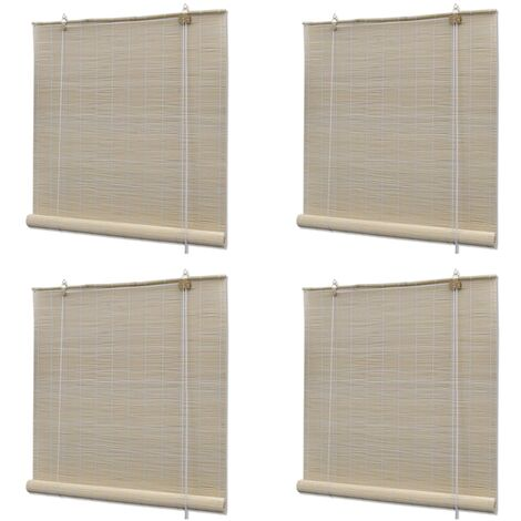 Natural Bamboo Roller Blinds 4 pcs 120x160 cm - Beige