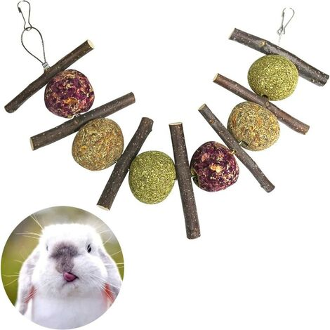 Natural chew toys in the shape of balls and sticks for rabbit, hamster, parrot, chinchilla, guinea pig and gerbil made from grass and rose