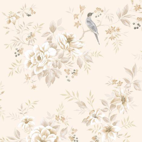 Natural Cream Beige Floral Glitter Wallpaper Leaf Paste Wall Fine Decor Liora
