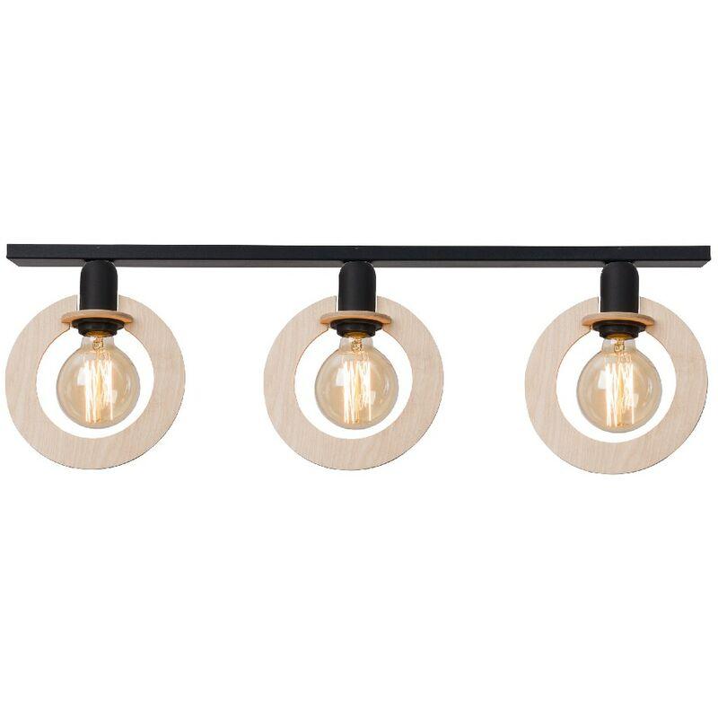 Natural Deckenlampe - Deckenleuchte - von der Wand - Schwarz aus Metall, Holz, 80 x 8 x 25 cm, 3 x E27, 60W