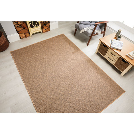 Natural Fibre Herringbone Flat Weave Navy Beige Rug Recyclable Carpet