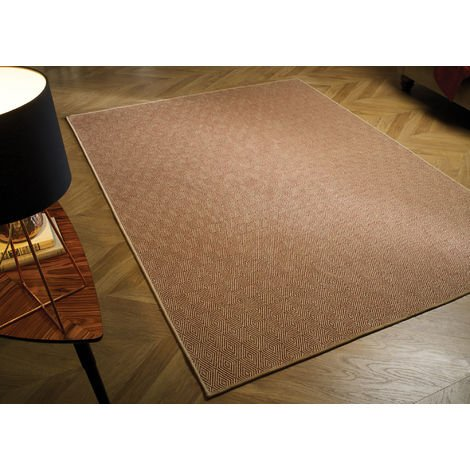 Natural Fibre Herringbone Flat Weave Terracotta Beige Rug Recyclable Carpet