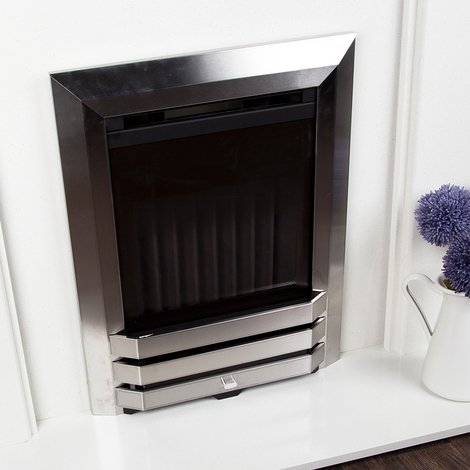 Natural Gas Fire with Optiflame Effect � Multi Flue � Brushed Steel