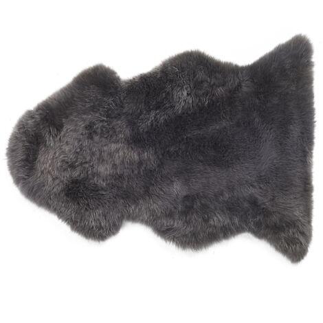 Natural Genuine Sheepskin Rug Fluffy Cover Soft Throw Dark Grey Uluru