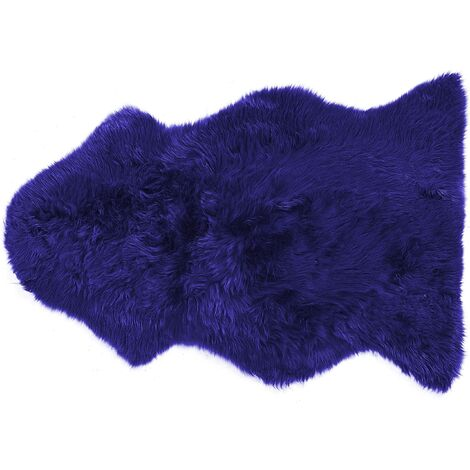 Natural Genuine Sheepskin Rug Fluffy Cover Soft Throw Navy Blue Uluru