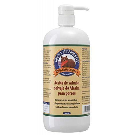 Natural Greatness Aceite de Salmón Salvaje de Alaska Grizzly. Producto Natural Puro para su Mascota. 1000 ml