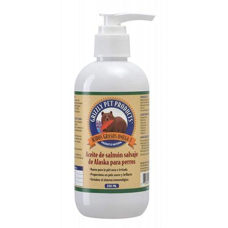 Natural Greatness Aceite de Salmón Salvaje de Alaska Grizzly. Producto Natural Puro para su Mascota. 250 ml