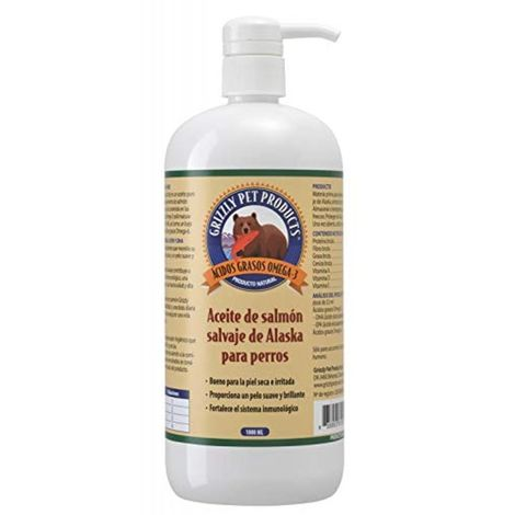 Natural Greatness Aceite de Salmón Salvaje de Alaska Grizzly. Producto Natural Puro para su Mascota