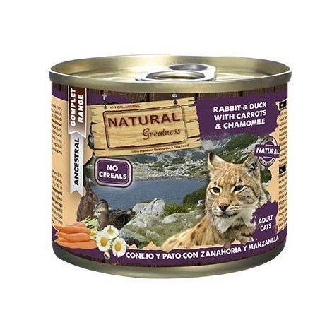 Natural Greatness Comida Húmeda para Gatos de Conejo y Pato con Zanahoria y Manzanilla. Pack de 6 Unidades. 200 gr Cada Lata