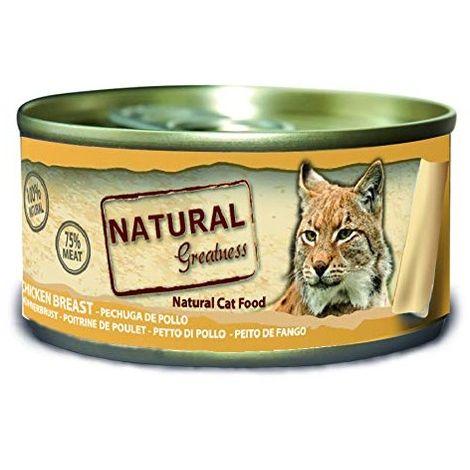 Natural Greatness Comida Húmeda para Gatos de pechuga de Pollo. Pack de 24 Unidades. 70 gr Cada Lata