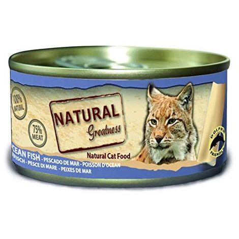 Natural Greatness Comida Húmeda para Gatos de Pescado de mar. Pack de 24 Unidades. 70 gr Cada Lata